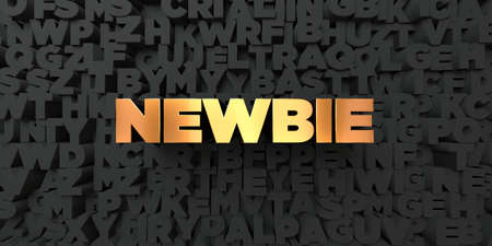 newbie: Newbie - Gold text on black background - 3D rendered royalty free stock picture. This image can be used for an online website banner ad or a print postcard. Stock Photo