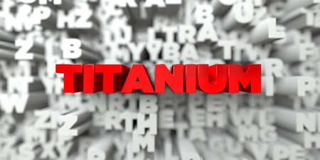 titanium: TITANIUM -  Red text on typography background - 3D rendered royalty free stock image. This image can be used for an online website banner ad or a print postcard. Stock Photo