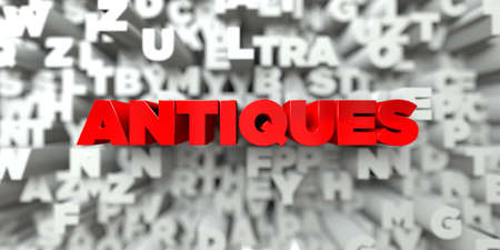 antiques: ANTIQUES -  Red text on typography background - 3D rendered royalty free stock image. This image can be used for an online website banner ad or a print postcard.