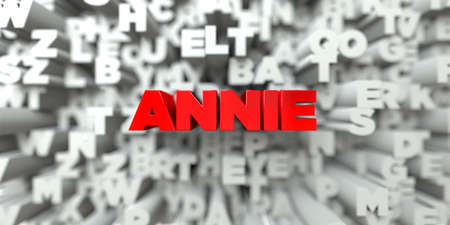 annie: ANNIE -  Red text on typography background - 3D rendered royalty free stock image. This image can be used for an online website banner ad or a print postcard. Stock Photo