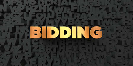 Bidding - Gold text on black background - 3D rendered royalty free stock picture. This image can be used for an online website banner ad or a print postcard.