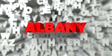albany: ALBANY -  Red text on typography background - 3D rendered royalty free stock image. This image can be used for an online website banner ad or a print postcard. Stock Photo