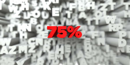 royalty: 75% -  Red text on typography background - 3D rendered royalty free stock image. This image can be used for an online website banner ad or a print postcard.