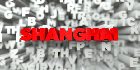 SHANGHAI -  Red text on typography background - 3D rendered royalty free stock image. This image can be used for an online website banner ad or a print postcard.