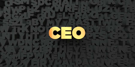 ceo: Ceo - Gold text on black background - 3D rendered royalty free stock picture. This image can be used for an online website banner ad or a print postcard.
