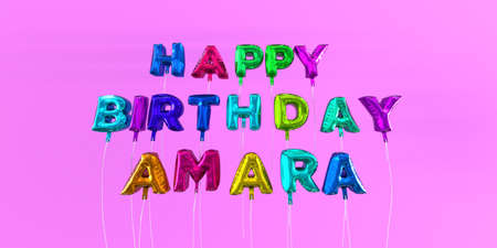 happy birthday amara card with balloon text 3d rendered stock
