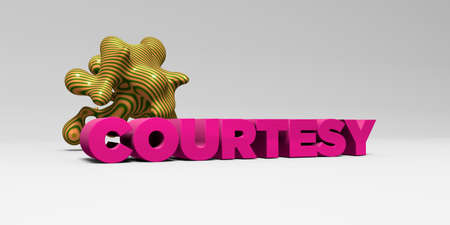 a courtesy: COURTESY - 3D rendered colorful headline illustration.  Can be used for an online banner ad or a print postcard.