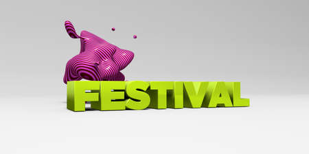FESTIVAL - 3D rendered colorful headline illustration.  Can be used for an online banner ad or a print postcard. Stock Photo