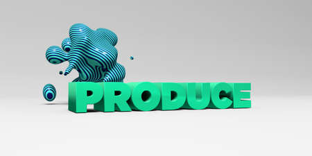 produce: PRODUCE - 3D rendered colorful headline illustration.  Can be used for an online banner ad or a print postcard.