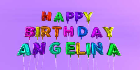 Happy Birthday Angelina card with balloon text - 3D rendered stock image. This image can be used for a eCard or a print postcard. Stock Photo - 66348708