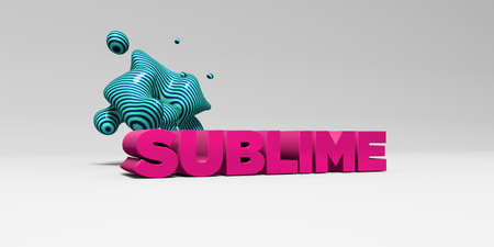 SUBLIME - 3D rendered colorful headline illustration.  Can be used for an online banner ad or a print postcard.