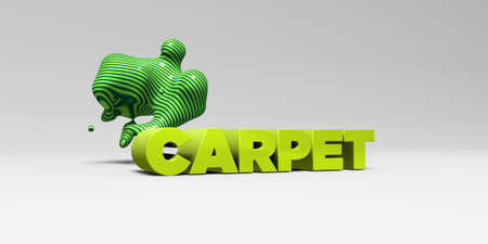 sentence typescript: CARPET - 3D rendered colorful headline illustration.  Can be used for an online banner ad or a print postcard.