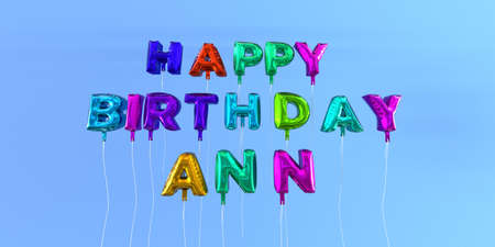 Happy Birthday Ann card with balloon text - 3D rendered stock image. This image can be used for a eCard or a print postcard. Stock Photo - 66613001