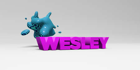 wesley: WESLEY - 3D rendered colorful headline illustration.  Can be used for an online banner ad or a print postcard.