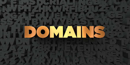 domains: Domains - Gold text on black background - 3D rendered royalty free stock picture. This image can be used for an online website banner ad or a print postcard.