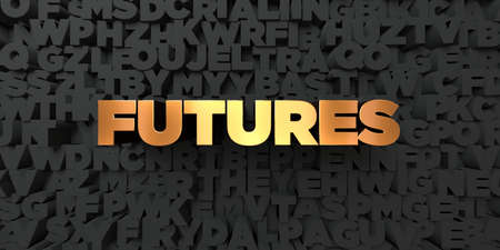 futures: Futures - Gold text on black background - 3D rendered royalty free stock picture. This image can be used for an online website banner ad or a print postcard.
