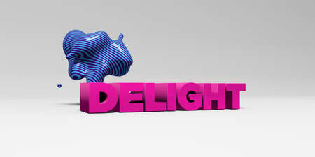 banner ad: DELIGHT - 3D rendered colorful headline illustration.  Can be used for an online banner ad or a print postcard.