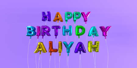 Happy Birthday Aliyah card with balloon text - 3D rendered stock image. This image can be used for a eCard or a print postcard. Stock Photo - 66612941