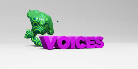 voices: VOICES - 3D rendered colorful headline illustration.  Can be used for an online banner ad or a print postcard.
