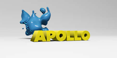 APOLLO - 3D rendered colorful headline illustration.  Can be used for an online banner ad or a print postcard. Stock Photo