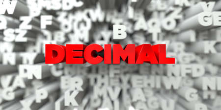 sentence typescript: DECIMAL -  Red text on typography background - 3D rendered royalty free stock image. This image can be used for an online website banner ad or a print postcard. Stock Photo