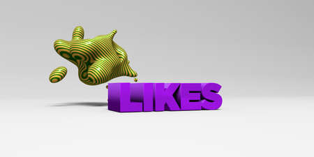 likes: LIKES - 3D rendered colorful headline illustration.  Can be used for an online banner ad or a print postcard.