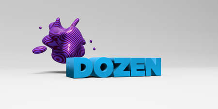 dozen: DOZEN - 3D rendered colorful headline illustration.  Can be used for an online banner ad or a print postcard. Stock Photo
