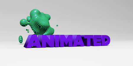 sentence typescript: ANIMATED - 3D rendered colorful headline illustration.  Can be used for an online banner ad or a print postcard. Stock Photo