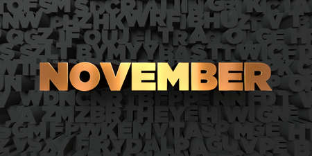 November - Gold text on black background - 3D rendered royalty free stock picture. This image can be used for an online website banner ad or a print postcard.