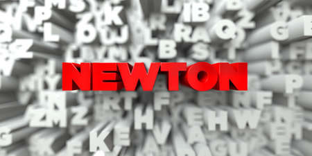sentence typescript: NEWTON -  Red text on typography background - 3D rendered royalty free stock image. This image can be used for an online website banner ad or a print postcard.