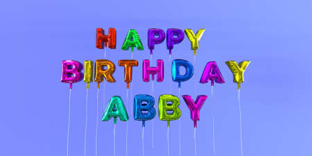 Happy Birthday Abby card with balloon text - 3D rendered stock image. This image can be used for a eCard or a print postcard. Stock Photo - 66334412