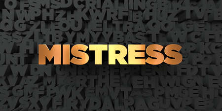 herrin: Mistress - Gold text on black background - 3D rendered royalty free stock picture. This image can be used for an online website banner ad or a print postcard. Lizenzfreie Bilder