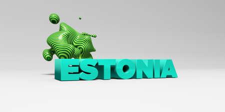 エストニア - 3 D には、カラフルな見出しの図が表示されます。 オンラインのバナー広告や印刷のはがきに使用できます。