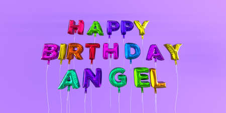 Happy Birthday Angel card with balloon text - 3D rendered stock image. This image can be used for a eCard or a print postcard. Stock Photo - 66512573