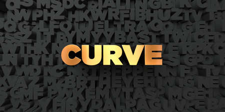Curve - Gold text on black background - 3D rendered royalty free stock picture. This image can be used for an online website banner ad or a print postcard.