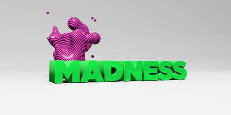 madness: MADNESS - 3D rendered colorful headline illustration.  Can be used for an online banner ad or a print postcard. Stock Photo