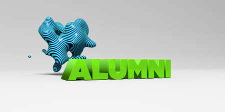 ALUMNI - 3D rendered colorful headline illustration.  Can be used for an online banner ad or a print postcard.
