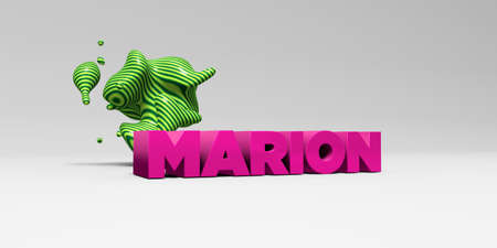 marion: MARION - 3D rendered colorful headline illustration.  Can be used for an online banner ad or a print postcard. Stock Photo