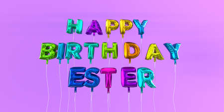 ecard: Happy Birthday Ester card with balloon text - 3D rendered stock image. This image can be used for a eCard or a print postcard.