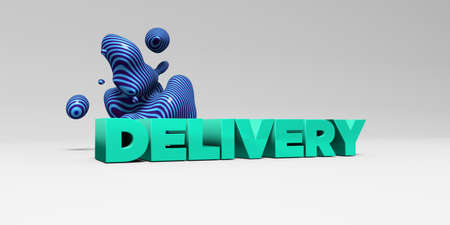 sentence typescript: DELIVERY - 3D rendered colorful headline illustration.  Can be used for an online banner ad or a print postcard.