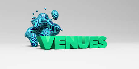 venues: VENUES - 3D rendered colorful headline illustration.  Can be used for an online banner ad or a print postcard.