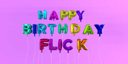Happy Birthday Flick card with balloon text - 3D rendered stock image. This image can be used for a eCard or a print postcard.