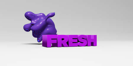 FRESH - 3D rendered colorful headline illustration.  Can be used for an online banner ad or a print postcard. Stock Photo