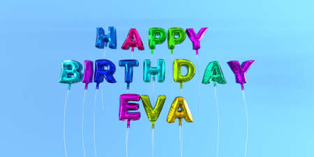 Happy Birthday Eva card with balloon text - 3D rendered stock image. This image can be used for a eCard or a print postcard. Stock Photo