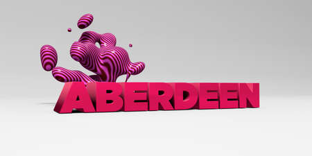 ABERDEEN - 3D rendered colorful headline illustration.  Can be used for an online banner ad or a print postcard.