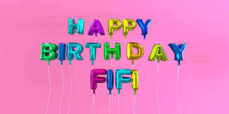 Happy Birthday Fifi card with balloon text - 3D rendered stock image. This image can be used for a eCard or a print postcard. Stock Photo