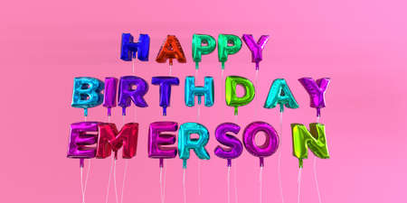 ecard: Happy Birthday Emerson card with balloon text - 3D rendered stock image. This image can be used for a eCard or a print postcard. Stock Photo