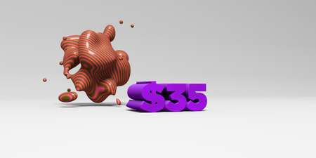 35: $35 - 3D rendered colorful headline illustration.  Can be used for an online banner ad or a print postcard. Stock Photo