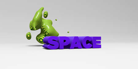 SPACE - 3D rendered colorful headline illustration.  Can be used for an online banner ad or a print postcard. Stock Photo