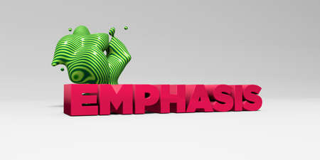 EMPHASIS - 3D rendered colorful headline illustration.  Can be used for an online banner ad or a print postcard.